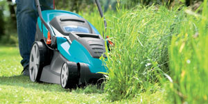 electric lawn mower grass management