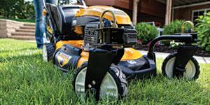 gas lawn mower swivel front wheels